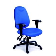 Irodai szék, állítható karfával, exkluzív kék szövetborítás, fekete lábkereszt, MAYAH