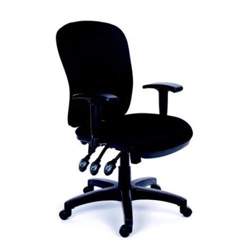 Irodai szék, állítható karfával, fekete gyöngyszövet borítás