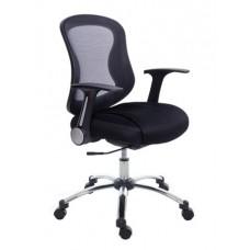 Irodai szék, karfás, fekete szövetborítás, feszített hálós háttámla, króm lábkereszt, MAYAH