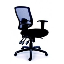 Irodai szék, állítható karfás, fekete szövetborítás, hálós háttámla, fekete lábkereszt, MAYAH