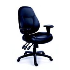 Irodai szék, állítható karfával, fekete bonded bőrborítás, fekete lábkereszt, MAYAH