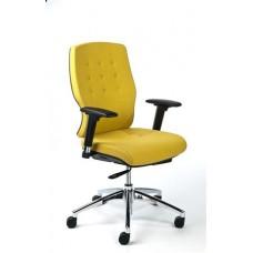 Irodai szék, állítható karfával, sárga szövetborítás, alumínium lábkereszt, MAYAH