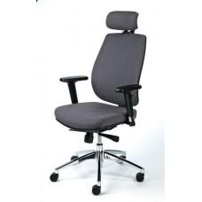 Irodai szék, állítható karfával, fekete szövetborítás, fekete lábkereszt, MAYAH