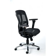 Irodai szék, állítható karfás, hálós ülőlap, hálós háttámla, alumínium lábkereszt, MAYAH