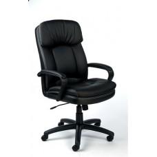 Főnöki szék, hintamechanikával, fekete műbőrborítás, fekete lábkereszt, MAYAH