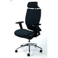 Főnöki szék, fejtámasszal, fekete szövetborítás, feszített szövet háttámla, alumínium lábkereszt, MAYAH