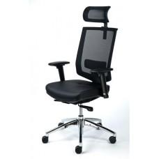 Exkluzív fejtámaszos irodai szék, fekete bőrborítás, feszített hálós háttámla, alumínium lábkereszt, MAYAH