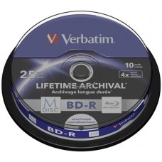 BD-R BluRay lemez, archiváló, nyomtatható, 25GB, 4x, hengeren, VERBATIM