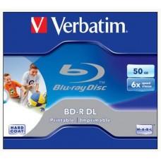 BD-R BluRay lemez, kétrétegű, nyomtatható, 50GB, 6x, normál tok, VERBATIM