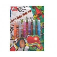 Tetováló zseléstoll készlet, csillámos, CANENCO, 6 különböző szín