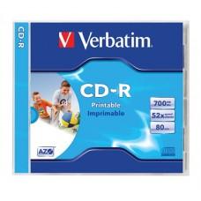 CD-R lemez, nyomtatható, matt, ID, AZO, 700MB, 52x, normál tok, VERBATIM