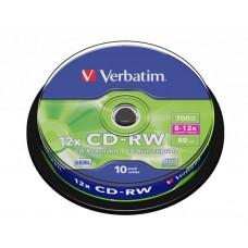 CD-RW lemez, újraírható, SERL, 700MB, 8-10x, hengeren VERBATIM