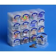 Műanyag tárolódoboz, átlátszó, aprócikkek számára, 16x0,14 liter, REALLY USEFUL
