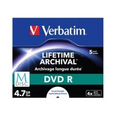 DVD R lemez, archiváló, nyomtatható, M-DISC, 4,7 GB, 4x, normál tok, VERBATIM