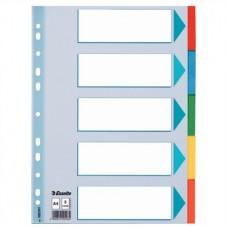 Regiszter, karton, A4, 5 részes, írható előlappal, ESSELTE
