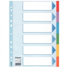 Regiszter, karton, A4, 6 részes, írható előlappal, ESSELTE