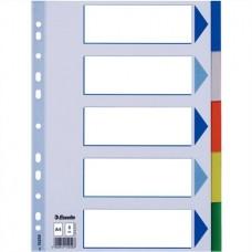 Regiszter, műanyag, A4, 5 részes, ESSELTE
