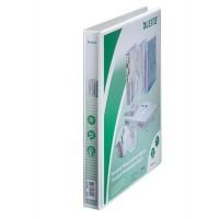 Gyűrűs könyv, panorámás, 4 gyűrű, D alakú, 38 mm, A4 Maxi, PP, LEITZ, fehér