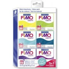 Gyurma készlet, 6x57 g, égethető, FIMO,