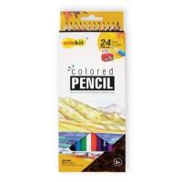 Színes ceruza készlet, hatszögletű, hegyezővel, COLOKIT, 24 különböző szín