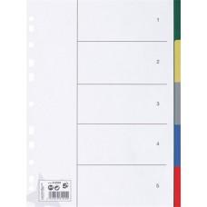 Regiszter, műanyag, A4, 5 részes, 5 STAR, színes