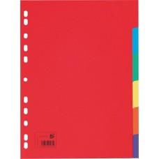 Regiszter, karton, A4, 6 részes, 5 STAR, színes