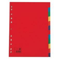 Regiszter, karton, A4, 12 részes, 5 STAR, színes