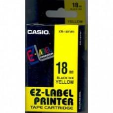 Feliratozógép szalag, 18 mm x 8 m, CASIO, sárga-fekete