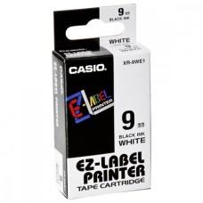 Feliratozógép szalag, 9 mm x 8 m, CASIO, fehér-fekete