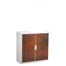 Szekrény, rolós ajtós, 2 polcos , PAPERFLOW, rozsdamintás