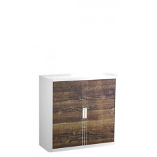 Szekrény, rolós ajtós,  2 polcos, PAPERFLOW, gerendamintás
