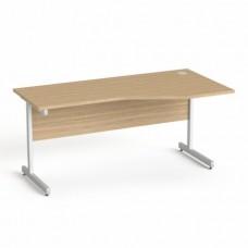 Íróasztal, íves, jobbos,  szürke fémlábbal, 160x80 cm, MAYAH