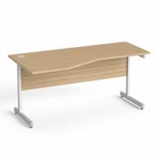 Íróasztal, íves, balos,  szürke fémlábbal, 160x80 cm, MAYAH