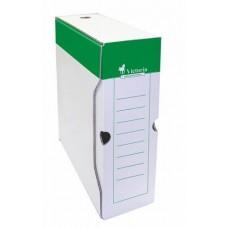 Archiváló doboz, A4, 100 mm, karton, VICTORIA, zöld-fehér
