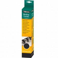 Spirál, műanyag, 10 mm, 41-55 lap, FELLOWES, 25 db, fekete