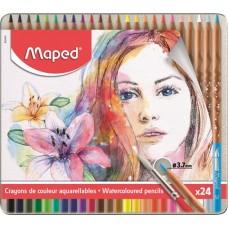Akvarell ceruza készlet, ecsettel, fém doboz, MAPED