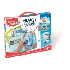 Kreatív készségfejlesztő tábla, átlátszó, törölhető, utazótáskával, MAPED CREATIV,
