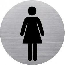 Információs tábla, rozsdamentes acél, HELIT, női mosdó