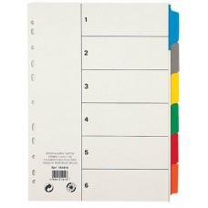 Regiszter, laminált karton, A4, 6 részes, VIQUEL