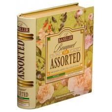 "Zöld tea, filteres, 4x8x1,5 g, fém könyv dobozban, ""BASILUR Bouquet Assorted"""