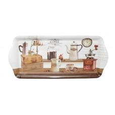 Tálca, műanyag, szögletes, kávéház mintás, 33x14,5x2,5cm