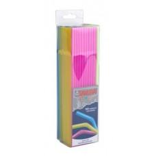 Szívószál, vegyes neon színekben, hajlítható, 160 db-os szett, 24cm