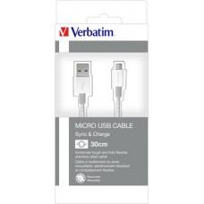 USB kábel, USB - micro USB, 0,3 m, VERBATIM, ezüst