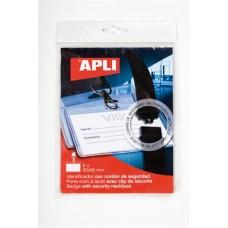 Névkitűző, nyakba akasztható, biztonsági csattal, 90x56 mm, APLI