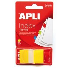 Jelölőcímke, műanyag, 50 lap, 25x45 mm, APLI, sárga