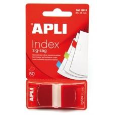 Jelölőcímke, műanyag, 50 lap, 25x45 mm, APLI, piros