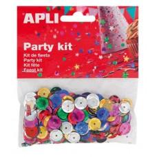 Konfetti, metál, 11 mm, lyukasztott kör, APLI, vegyes színek