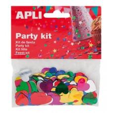 Konfetti, metál, 15 mm, szív, APLI, vegyes színek