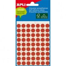 Etikett, 8 mm kör, kézzel írható, színes, APLI, piros, 288 etikett/csomag