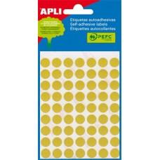 Etikett, 10 mm kör, kézzel írható, színes, APLI, sárga, 315 etikett/csomag